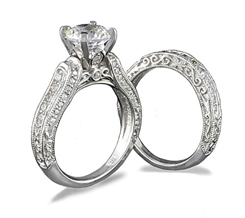 Venetia Top Grade Realistic Hearts and Arrows Cut 2 Carats Simulated Diamond Vintage Victorian Pave Ring Set 925 Silver Platinum Plated Cubic Zirconia cz shou10