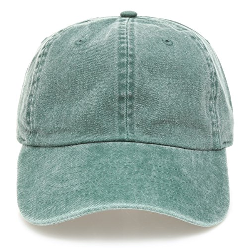 - MIRMARU Low Profile Vintage Washed Pigment Dyed 100% Cotton Adjustable Baseball Cap Hat.(Green)