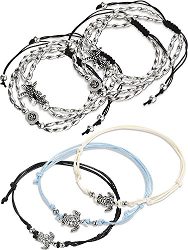 Gejoy 4 Pieces Vintage Silver Starfish Ankle Chain Pendant Ankle Bracelet Anklets, with 3 Pieces Multilayer Wax Rope Turtle Ankle Beach Bracelet for Women, (Vintage Turtle)