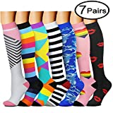 QUXIANG Copper Compression Socks for Women and Men - Best Medical, Nursing, Running, Athletic, Edema, Diabetic, Varicose Veins, Travel, Pregnancy & Maternity 15-20 mmHg (Small/Medium, Multicolour 14)