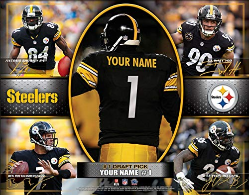 Photo File Pittsburgh Steelers Helmet - Photo File Action Collage Pittsburgh Steelers Unframed Poster 12x16 Inches
