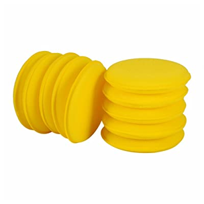 Mary Paxton 10PACK Car Wax Applicator Pad,Foam Microfiber Auto Waxing Polish Yellow Soft Foam Sponge Wax Applicator Cleaning Detailing Pads Anti-Scratch 4 Inch Round Shaped Fit for Vehicle Auto Glass: Automotive