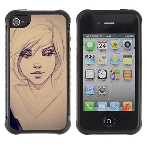 Apple Iphone 4 / 4S - Drawing Sketch Art Eyes Portrait - Rugged Armor Slim Protection Case Cover Shell