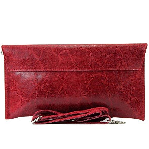 ModaModa de T106G �?Bolso de mano para mujer, piel italiana lisa rojo oscuro