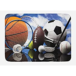 Lunarable Sports Bath Mat, Sports Equipment Football Soccer Darts Ice Hockey Baseball Basketball Theme, Plush Bathroom Decor Mat with Non Slip Backing, 29.5 W X 17.5 W Inches, Black Orange Blue