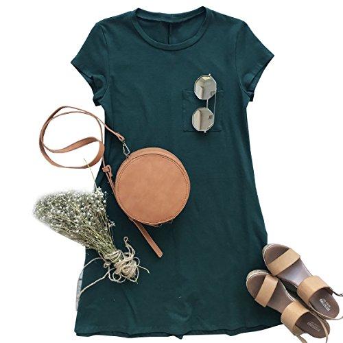Verde Senza Casual Dettaglio Mini Della Donne Di Delle Scuro Estate Tasche Maglietta Maniche Abiti Abito Coutgo xPq06Upwf