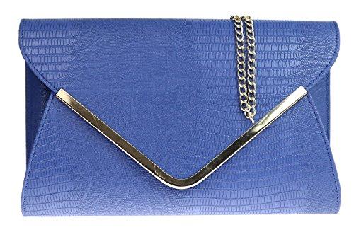 Girly HandBags Animal Print Croc Flat Envelope Evening Clutch Bag Ladies Blue