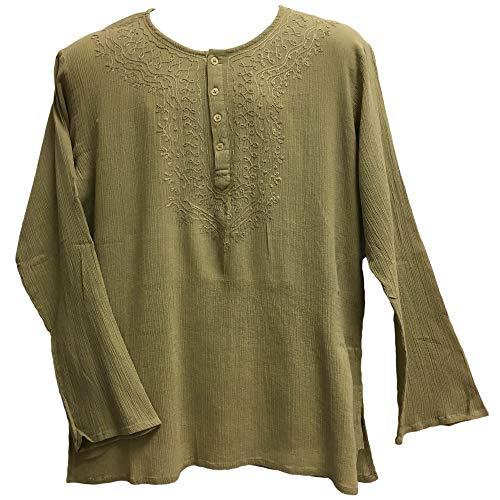 Yoga Trendz Mens Indian Bohemian Crinkled Gauze Cotton Embroidered Tunic Shirt Kurta Khaki