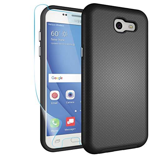 Galaxy J3 Emerge Case,J3 Prime,J3 Mission,J3 Luna Pro,J3 Eclipse,Amp Prime 2,Express Prime 2 Case with Screen Protector,NiuBox Hybrid Armor Shock Absorption Protective Case for Samsung J3 2017- Black