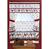 DH 3 Piece 36 Inch Red Color Top of The Morning Printed Cottage Curtain Tier Set, White Background Check Novelty Pattern Cottage Lodge Leghorn Rhode Island Red Hen Animal Country Vibrant, Polyester