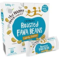 The Happy Snack Company Roasted Fava Beans, Lightly Salted Flavour Healthy Snack, High Protein, Gluten Free Tasty Snacks, Vegan, 105 Calories, 25g Portion, Pack of 20