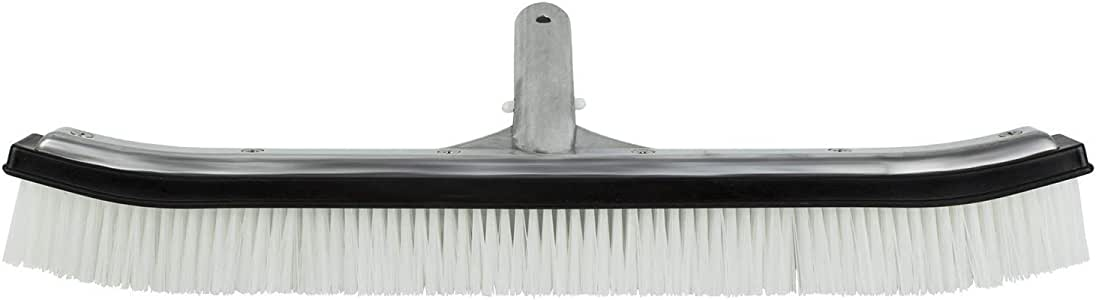 Poolmaster 20172 18-Inch Heavy Duty Aluminum-Back Swimming Pool Wall Brush with Durable Nylon Bristles Premier Collection