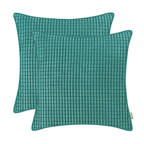 (BRAWARM Cozy Throw Pillow Covers Cases for Couch Sofa Bed Solid Corduroy Corn Striped Supersoft Cushion Covers with Piping Both Sides for Home Decor 18 X 18 Inches Teal Pack of 2)