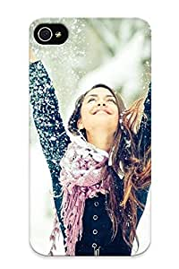 Nice Iphone 4/4s Case Bumper Tpu Skin Cove Rwith Happy Girl In Winter Design For Thanksgiving Day Gift