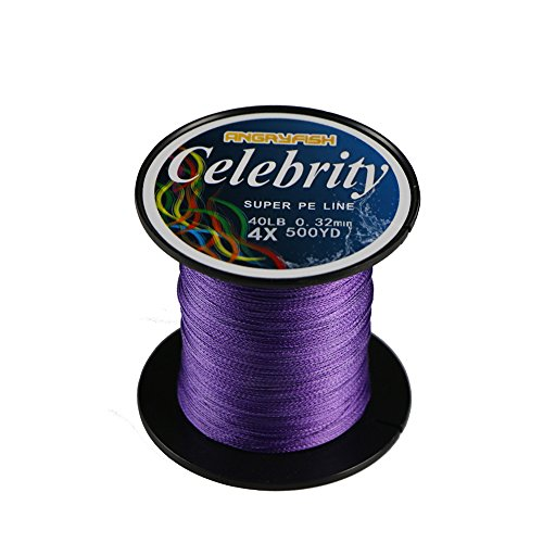 ANGRYFISH-A 4X 457M/500Y Super Strong Braided Fishing Line String-Abrasion Resistant Superline Zero Stretch Small Diameter(Purple,10LB/0.10MM)