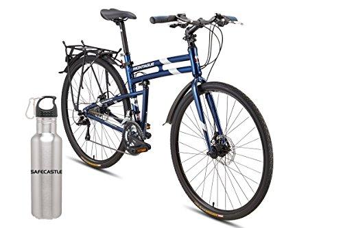 Montague Navigator 21 inch, 27 Speed, Folding Hybrid commuter Bike, 700c bundled with Safecastle Stainless Waterbottle