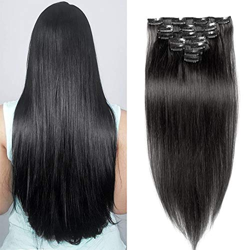 Jisheng 22inch 160g Stright Real Remy Clip in Hair Extensions 10A Grade 100% Brazilian Virgin Human Hair 7 Pieces 16 Clips Double Weft for full Head Natural Black Color ()