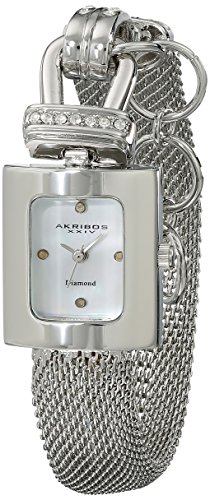Akribos XXIV Women's AK510SS Mesh Wraparound Diamond-Accented Rectangular Watch
