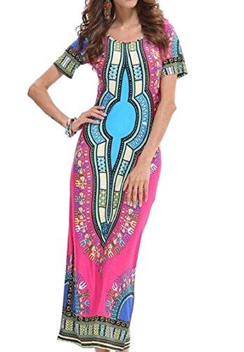Jaycargogo Femmes Ramassent Des Robes Tunique De Loisirs À Manches Courtes Imprimés Ethniques Du Cou 1