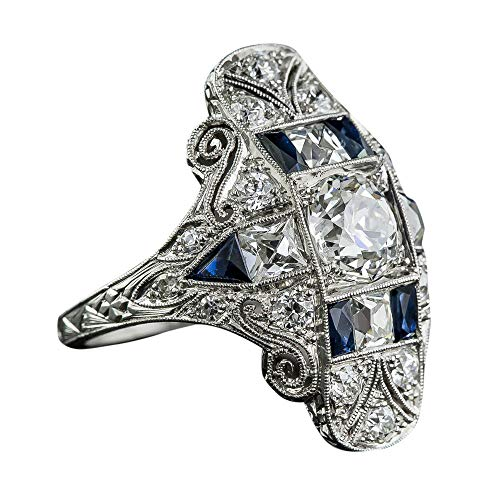 - Haluoo Vintage Rings, Luxury Court Blue Birthstone Engagement Wedding Ring Silver Gemstone Sapphire Diamond Statement Ring Solitaire Cut Anniversary Ring (7, Multicolor)