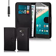 32nd® Book wallet PU leather case cover for LG Google Nexus 5X (2015), including touch stylus - Black