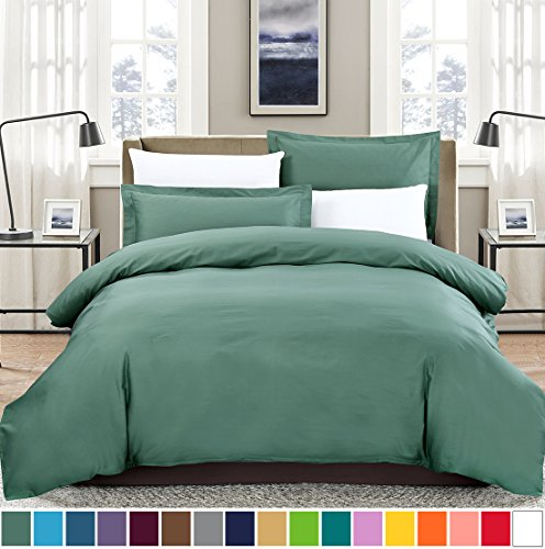 SUSYBAO 100% Natural Cotton 3 Pieces Duvet Cover Set King Size 1 Duvet Cover 2 Pillow Shams Emerald Green Hotel Quality Soft Breathable Hypoallergenic Fade Stain Wrinkle Resistant with Zipper Ties (Down Comforter Vintage Satin)