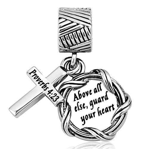 Q&Locket Religion Cross Holy Bible Book Charms Dangle Charm For European Beads Bracelets (Proverbs 4:23 Above all else, guard your heart) ()