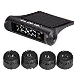 TPMS Wireless Car Real-time LCD Display Solar Tire Pressure Monitoring System Auto Tire Pressure Gauge Wheels Temperature Battery Voltage Alarm with 4 External Sensors and USB Charger Port