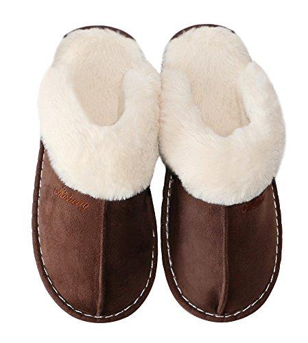 Oshow Pantofola Da Donna, Soffice Slip On House Slippers Clog Morbido Pantofola Interna Esterna Per Inverno B Modello-profondo Marrone