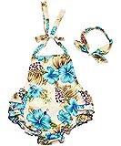 Baby Girls Summer Ruffles Romper 2pcs Sets Outfits (Small-6-9months, Hawaiin Blue)