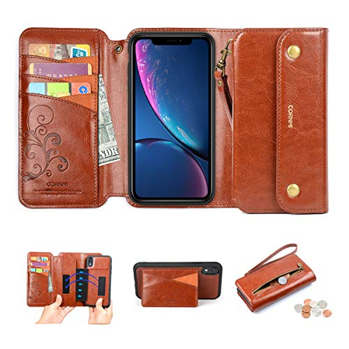 Solid Strap Zipper - iPhone XR Wallet Case, CORNMI Leather Folio Cover Detachable [3 in 1] Purse with 8 Card Slots Wrist Strap Zipper Pocket Stand Magnetic Closure Compatible for Apple XR 6.1 Inch Brown