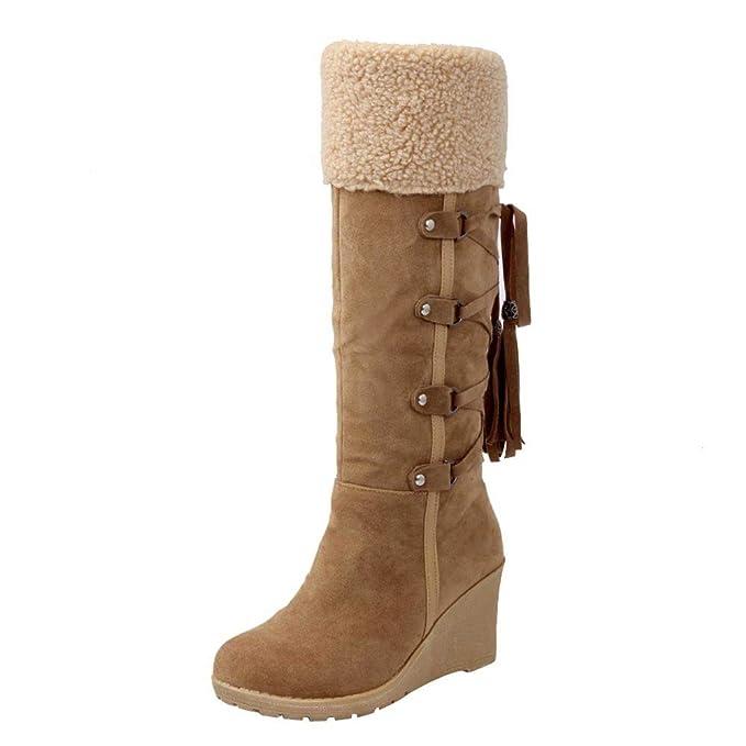 BaZhaHei-Zapatillas Mujer después de lijar con borlas Botas Altas Mangas Cuñas Zapatos de Nieve