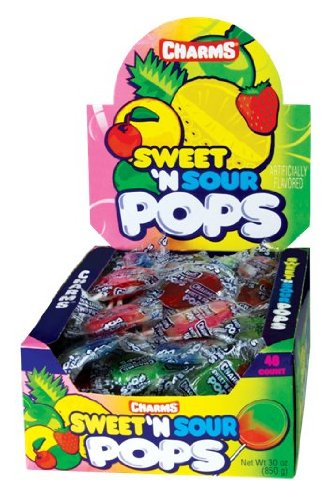 Charms Sweet & Sour Pops, 48-Count Lollipops (Pack of 2) (Lollipops Sour Sweet)