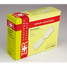"Ever Ready First Aid Large Butterfly Wound Clusure Strips 1/2"" x 2 3/4"" Sterile- 100/Box"