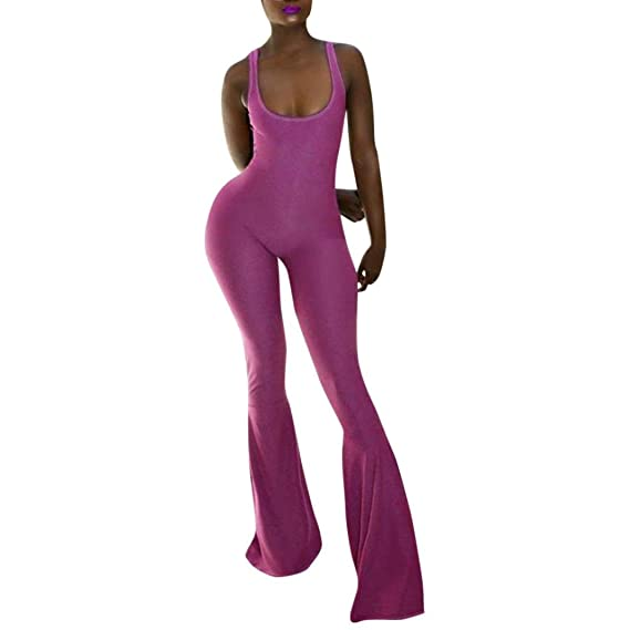 d5c3af04641 Coohole Women s Sexy Strapless Backless Halter Wide Leg Long Pants Jumpsuit  Rompers (XL