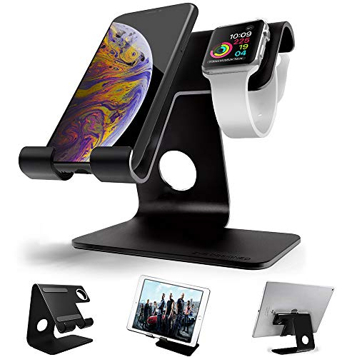 Apple Watch Stand, ZVEproof 2 in 1 Universal Desktop Cellphone Stand Apple Watch Stand, Aluminum iWatch iPhone Tablet Charging Station Stand Dock Phone Apple Watch (38mm 42mm), Black