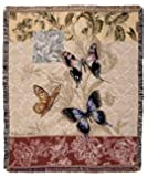 Butterfly Floral Woven Tapestry Blanket Throw Mid-Size Made in the USA