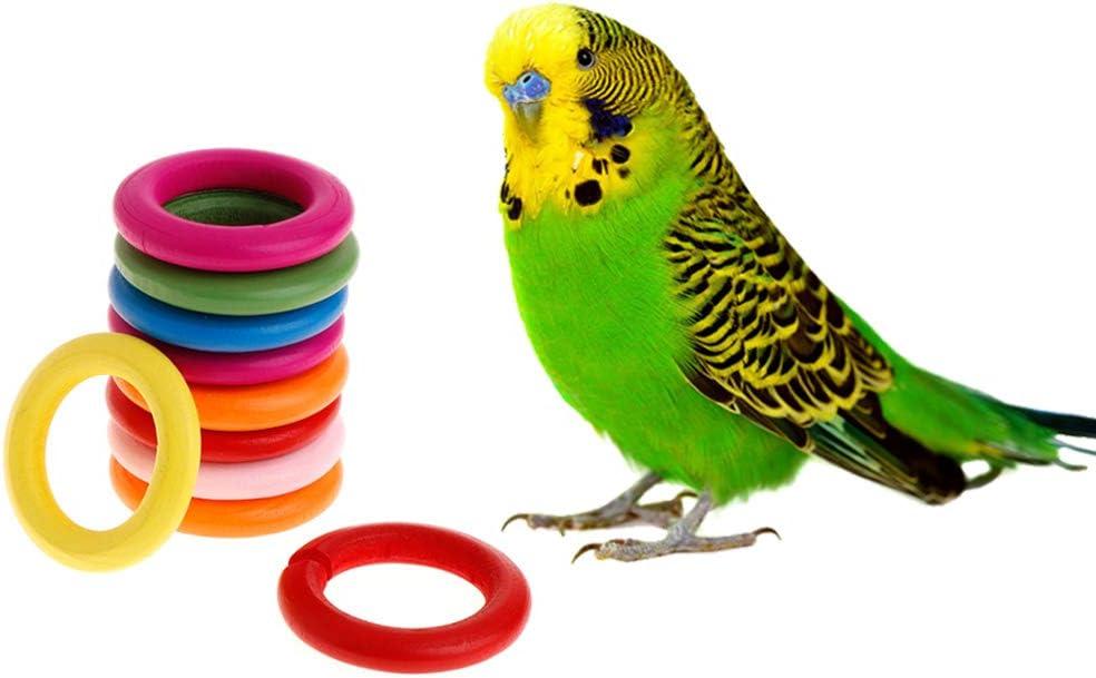 10 Pezzi Piccoli Animali Domestici e Giocattoli per Uccelli Morso da Masticare Gioco Parrocchetto per Uccelli Accessori Fai-da-Te luosh Anelli in Legno Pappagallo