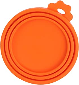 TLOG Pet Food Can Cover, Universal Silicone Cat Dog Food Can Lids Covers, 1 Fit 3 Standard Size BPA Free and Dishwasher Pet Food Storage, Four Colors (Orange)