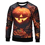 Cheap Hot Sale,Mens Halloween Costumes WUAI 3D Printed Pumpkin Lantern Slim Fit Sweatshirt Casual Shirts(Black ,US Size XS = Tag S)