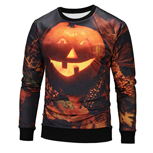 Hot Sale,Mens Halloween Costumes WUAI 3D Printed Pumpkin Lantern Slim Fit Sweatshirt Casual Shirts(Black ,US Size M = Tag L) ()