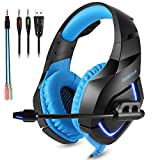 ONIKUMA PC Gaming Headset for PS4 Xbox one, 3.5mm Stereo USB LED Headphones with Omnidirectional Microphone, Volume Control for PC Xbox Laptop Mac PlayStation 4