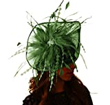 Hats By Cressida Pretty Petia Olive Green Feathers Ascot Derby Fascinator Hat - With Headband