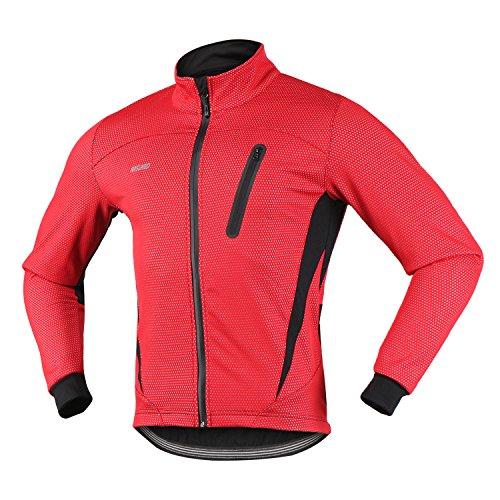 - ARSUXEO 16H Men's Winter Thermal Fleece Cycling Jacket MTB Bike Coat (CN: 3XL / US: 2XL, Red)