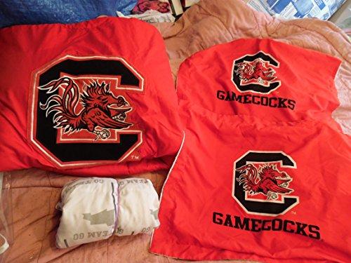 (North Carolina Gamecocks Twin Bedspread Blanket Twin Filled Sheet and 2 Pillow Shams Bundle)