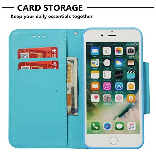 Amazon.com: iPhone 7 Plus/8 Plus Case,Fashion Magnetic Closure PU Leather 3D Printing Wallet Case Anti-Scratch Shock Absorbent Kickstand Inner Soft TPU ...