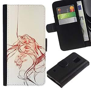 All Phone Most Case / Oferta Especial Cáscara Funda de cuero Monedero Cubierta de proteccion Caso / Wallet Case for Samsung Galaxy S5 V SM-G900 // Sun Watercolor Sepia Sketch