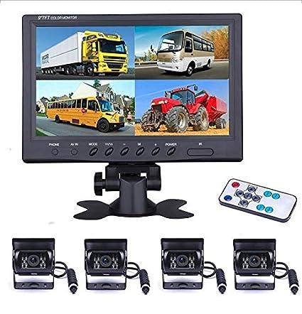 Cámara de seguridad para vehículos 9 pulgadas 4 divisiones + cámara de visión delantera / trasera