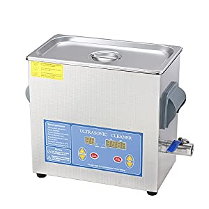 Flexzion Commercial Ultrasonic Cleaner 6L Large Capacity Stainless Steel with Digital Timer and Heater for Jewelry Watch Eyeglasses Rings Dental Lab Hospital Use Instruments 110V