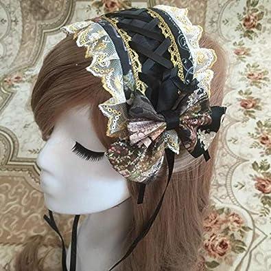 人気のロリータヘッドドレス コスプレ系 髪飾り 甘ロリ ロリータ ロリィタ (黒)